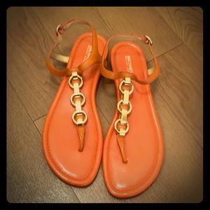 Michael kors orange sandals size 9